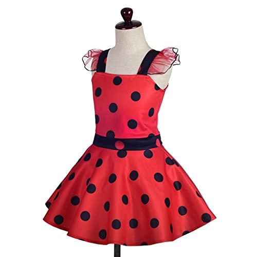 Lito Angels Vestido de Ladybug con Accesorios para Niña Pequeños Disfraz de Mariquita de Halloween Fiesta de Cumpleaños Carnaval Festival Falda de Lunares Rojo Talla 3 a 4 Años