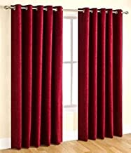 Zatchbell Super Thick Loom Made Fresh Quality Curtains/Special Feature : Eyelet Rings, Wall Packed of 2 Curtains/6ft Plain Maroon Curtains
