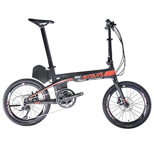 "ROCKBROS SAVA Opvouwbare Elektrische Fiets E8, 20 ""Carbon Vouwfiets E-bike 200W 36V / 8.7Ah Li-ion Batterij Met Shimano SORA 9-speed Middenmotor Pedal-Assist Pedelec En Afneembaar"