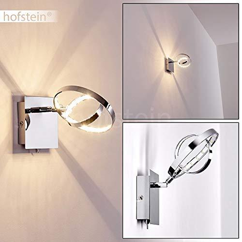 LED Wandlampe Ogoki, Wandleuchte aus Metall in Chrom, 1-flammig mit verstellbarem Leuchtenkopf, 4,5 Watt, 400 Lumen, Lichtfarbe 3000 Kelvin, Wandleuchte mit An-/Ausschalter am Gehäuse
