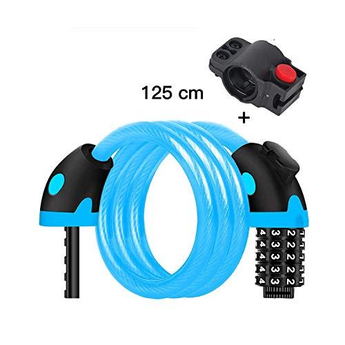 HJTLK 5-stellige Code-Kombinationssicherheit Elektrisches Kabelschloss Diebstahlsichere Fahrradschlösser, Fahrradkabelschlösser