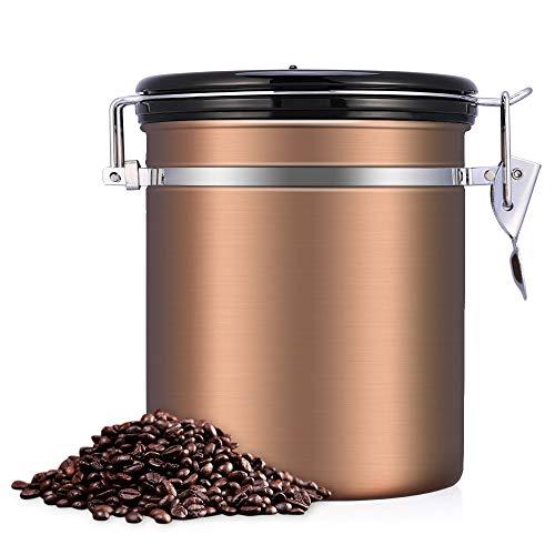 BETTERLE Kaffeedose Edelstahl, Kaffeebehälter Luftdichte Vorratsdose Edelstahldose Vakuum Dose für Kaffeebohnen, Pulver, Tee, Kakao (Gold)