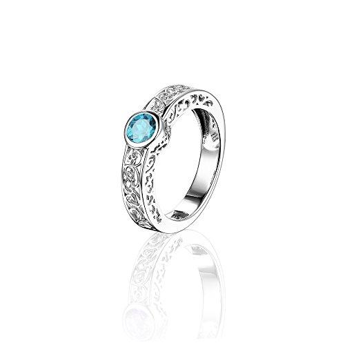 925 pulsera de plata de ley de 0,7 quilates piedra preciosa Natural de anillos de boda de grabado galjanoplastia del rodio por Dormith