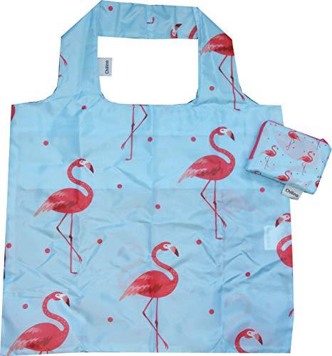 Chilino Flamingo Faltbare Mehrwegtasche/Umweltfreundlich/Hohe Tragkraft und Fassungsvermögen, hellblau, rosa, 47 x 41 cm