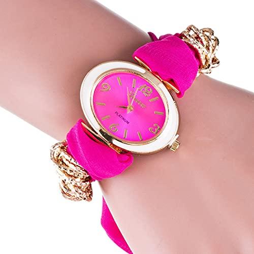 AMZYY Reloj de Bufanda, Reloj de Pulsera Reloj de Cuarzo de Moda Casual, Reloj de Moda,Pink