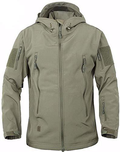ZAPZEAL Männer Kampfjacke wasserdicht Softshell Fleece Jacke mit Kapuze von HAINE Grün UK S (Fit Brust 35