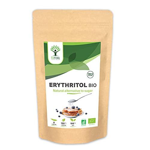 Erythritol Bio - Bioptimal - Zéro Sucre Zéro Calorie - Poudre d'Erythritol - Fort Pouvoir Sucrant - Alternative Naturelle - Pâtisserie Boisson Chaude - Conditionné en France - Certifié Ecocert - 150g