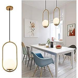 Pendant Lighting Modern Style Chandelier ,One Light Kitchen Lamp,Frosted Glass Globe Lampshade Pendant Light Indoor Hanging Light Fixture Adjustable Hanging Fixture for Dinning Room Bedroom