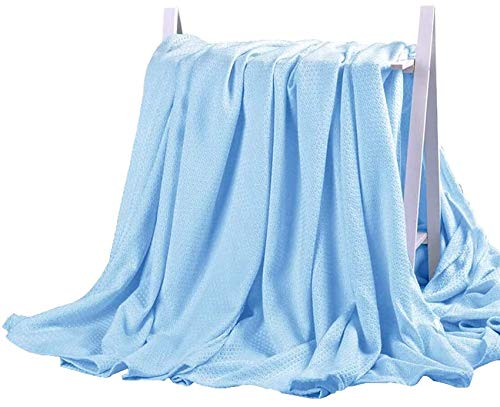 DANGTOP Cooling Blankets, Cooling Summer Blanket for Hot Sleepers, Ultra-Cool Cold Lightweight Light Thin Bamboo Blanket for Summer Night Sweats (79X91 inches, Large Blue).
