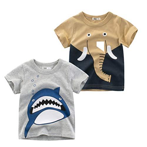 Tyidalin Jungen T-Shirt Kurzarm Baumwolle Bedrucktes Sommer 1-7 Jahre 2er Pack, Farbe E, 2-3 Jahre (Etikette 100)