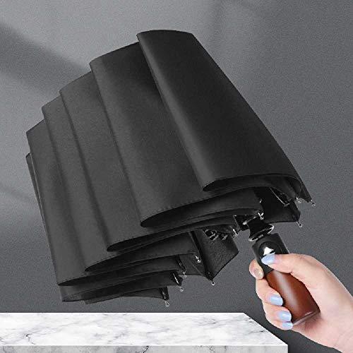 chengtengkejibaihuod Automatische Paraplu Automatische Klassieke Opvouwbare Drievoudige Paraplu Voor Heren Automatische Paraplu Business 103 * 62cm/Zwart