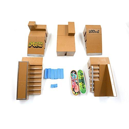 kidsdream® 5pcs kit de Skate Park Ramp partes para Tech Deck diapasón Mini Finger Skateboard monopatines Ultimate parques con 2pcs Dedo consejos