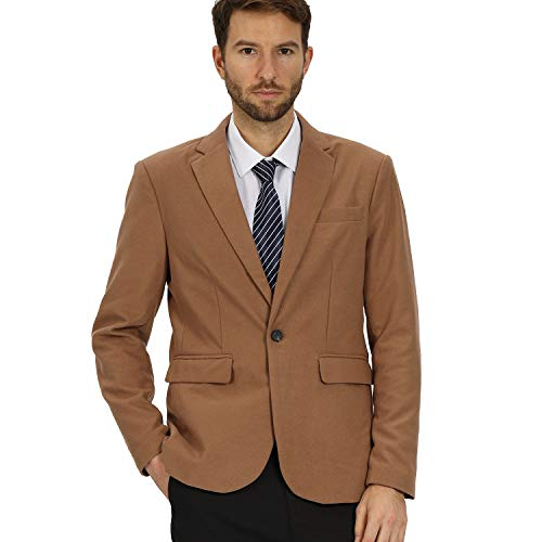 Mens Casual Slim Fit One Button Woolen Khaki Tweed Suit Jacket