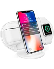 Vinpok Qiワイヤレス充電器 スタンド&平置きタイプ 3in1型 iPhone&AirPods&Apple Watch 同時に無線充電でき 5W/7.5W/10W急速 iPhone X/XS/XS Max/XR/8/8Plus/Xperia XZ3/Pixel3 xl/Galaxy S10/S10+/S9/S9+/S8/S8+/ Note9/Note8/他Qi充電対応機種 安定性 コンパク 軽量 収納袋付き 持ち運びに便利 仕事場/寝室に最適【Plux】
