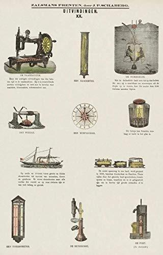 Póster de ciencia vintage con diseño de invenciones como máquina de coser, estilo retro, para decoración de pared, 20,3 x 30,5 cm