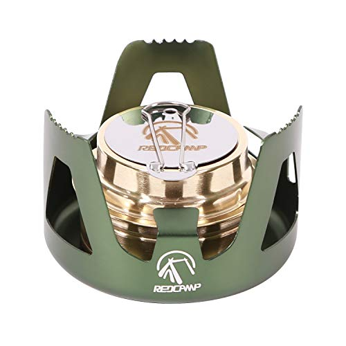 REDCAMP Mini Alcohol Stove for Backpacking, Lightweight Brass Spirit Burner with Aluminium Stand for Camping Hiking, Green