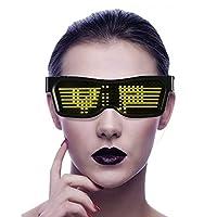 Bluetooth LEDメガネ、APPコントロールDIY発光パーティーメガネ、USB充電式調整可能パターン点滅サングラス、ナイトクラブ、DJ、コンサート、ハロウィーン、誕生日パーティーなど (Color : Yellow)