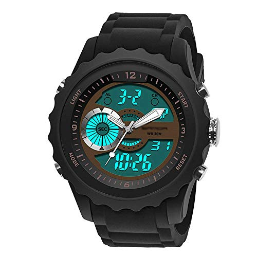 SXXYTCWL Outdoor los Hombres del Reloj Multifuncional Deportivo, Impermeable Reloj electrónico, Display Pointer + Digital, Luminoso, Corchete del Acero Inoxidable Un jianyou (Color : D)