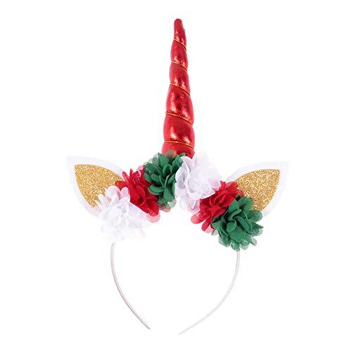 Diadema creativa de unicornio europeo y americano con flores de gasa para fiestas de cumpleaños de Amazon