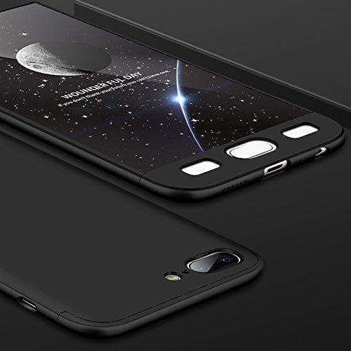 Huawei Honor 9 Lite Hülle, AChris 3-in-1-Hülle für Huawei Honor 9 Lite, starre Hülle aus PC mit Schutzfolie, vollständig schützende, matte Hülle, ultradünn, stoßfest, plastik, Schwarz , Oneplus 5