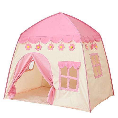 Children's Canvas Tent Children's Tent Play House Small Flower Big Room Play Beach Tent Give Children a Separate Space (Color : Pink, Size : ONE SIZE)