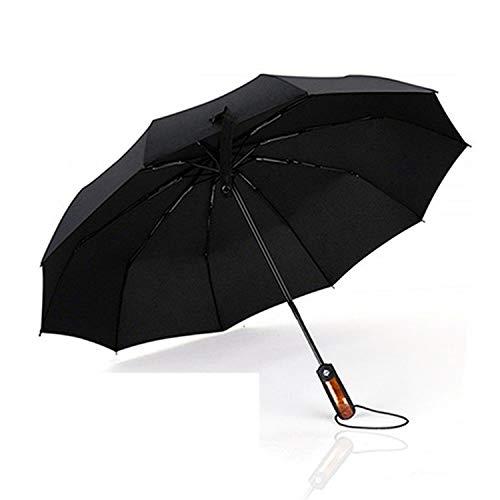 Meiyijia Regenschirm Taschenschirm Travel Umbrella,real Holz Handle,Auto Offene & Close,Wasserabweisende Teflon-Beschichtung,10-Rippe,kompakt, stabil u. windsicher, schwarz 106cm