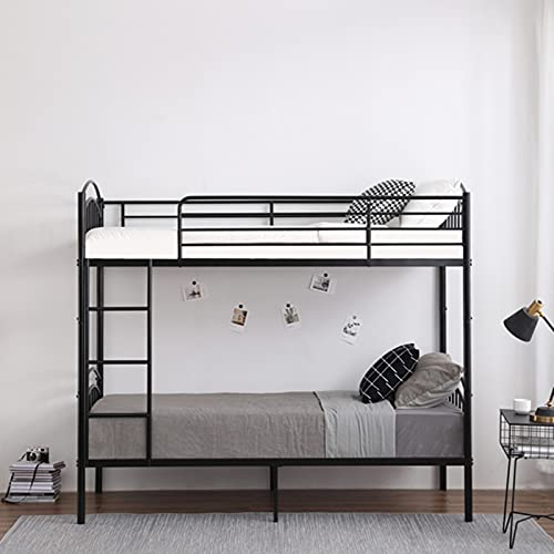 Bunk Bed Cot Metal Frame with Ladder ,DYBITTS 3FT Bedroom Steel Twin Size Bedstead Bunk Bed Frame for Kids Teens Adult Dormitory