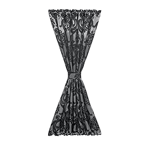 French Door Curtains, NAPEARL Premium Sidelight Curtains for Front Door, Side Door Window Curtains for Privacy Protect, Front Door Curtain with Tieback, 1 Panel ( W25 X L72, Black )