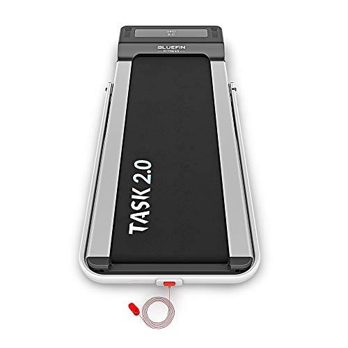 Bluefin Fitness Tapis de Course Pliable Task 2.0 2-en-1 Tapis de Marche à la Maison | 8 Km/h | Tech de Protection des Articulations | Appli Smartphone | Haut-Parleurs Bluetooth | Machine de Course
