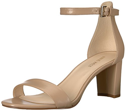 NINE WEST Women's Pruce Leather Heeled Sandal, Natural, 8