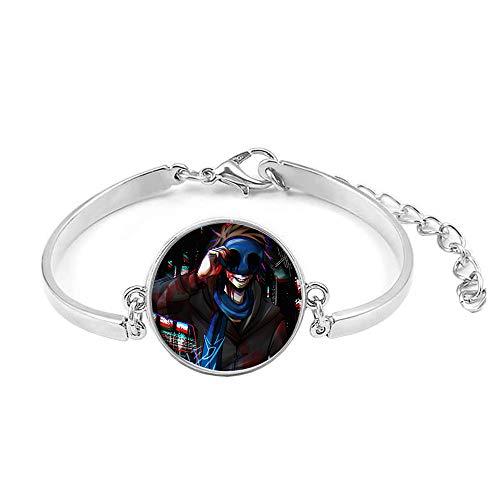 Creepypasta Wohltuendes Licht Armband Zeit Gem Silber-Armband Unisex (Color : A02, Size : OneSize)