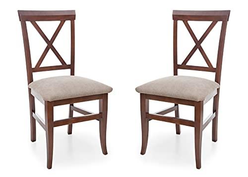 Eco Silla y Descanso, Set 2 sillas Modelo 24, Cocina, Salon, Comedor, Estructura Haya Maciza, Pintada Color Nogal. Alto 93 CTM x Fondo 51 CTM x Ancho 50 CTM, Altura Asiento 50 CTM. Color beig