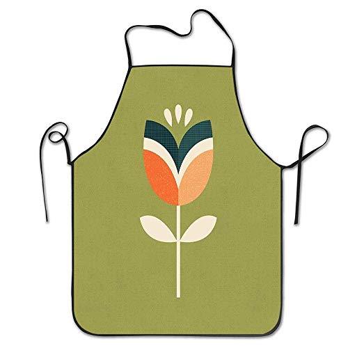Lovely baby-Z DIY Retro Tulip arancione e verde oliva regolabile Grembiule cucina grembiule per donne uomini chef ristorante
