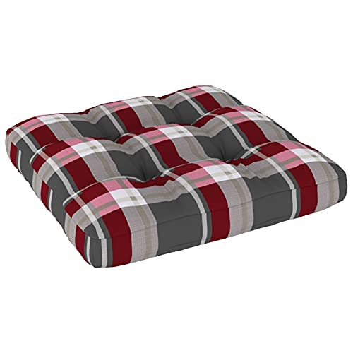 Tidyard Cojín para sofá de palets Cojín para Banco de Jardín Cojines de Asiento para Sillas de Jardín Cojín de Silla de Comedor 4# Estampado a Cuadros Rojo 60x60x12 cm