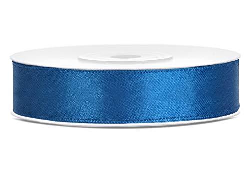 DaLoKu Satinband 6/12/25/38/50/100mm x 25m Geschenkband Schleifenband, Größe: 12mm x 25m, Farbe: Blau