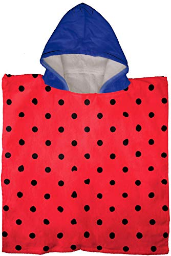 Jay Franco Miraculous Ladybug Kids Bath/Pool/Beach Hooded Poncho - Super Soft & Absorbent Cotton Towel Features Marinette, Measures 28 x 28 Inch (Official Miraculous Ladybug Product)