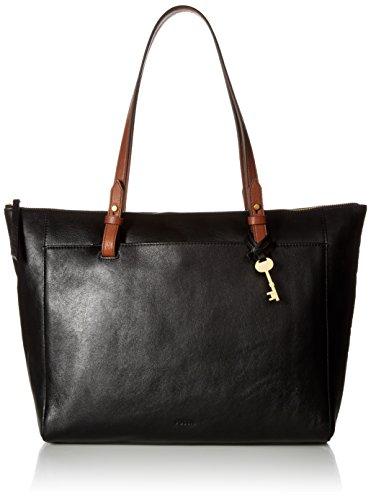 Fossil Women's Rachel Leather Tote Handbag, Black/Brown