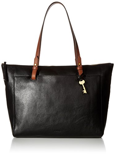 Fossil Women's Rachel Leather Tote Handbag, Black/Brown