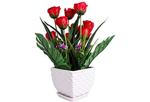 Deko Blumentopf Blumenvase Dekoblumen Balkonblumen Terrasse Blumen Tischblumen Farbe Rot |z1361
