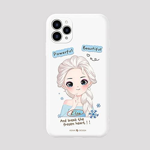 Diseñado para iPhone 11/12 Pro Hielo Nieve Princesa Mujer Teléfono Funda Ultrafino Agradable para Piel Transpirable Líquida Silicona Cover Prueba de Golpes Lente Todo Incluido(Size:IP11PRO,Color:C)