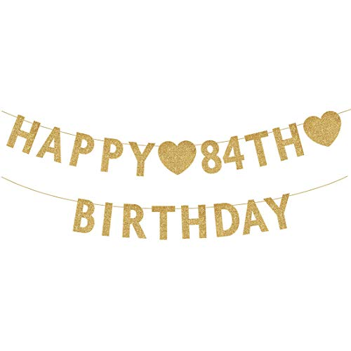 Gold Happy 84th Birthday Banner, Glitter 84 Years Old Woman or Man Party Decorations, Supplies