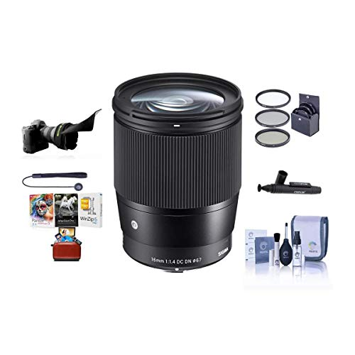 Sigma 16mm f/1.4 DC DN Contemporary Lens for Sony E-Mount Cameras, Black - Bundle with 67mm Filter Kit, Flex Lens Shade, Cleaning Kit, Capleash II, Lenspen Lens Cleaner, Mac Software Package