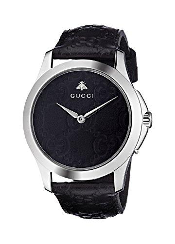 Gucci Unisex Erwachsene Datum klassisch Quarz Uhr mit Leder Armband YA1264031