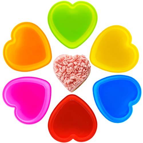 Moldes de silicona para tartas con forma de capa para tartas, forma de corazón, antiadherentes, para repostería, 6 unidades