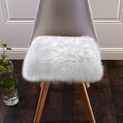 Softlife Faux Fur Sheepskin Area Rug Soft Sofa Chair Cover Seat Cushion Pad for Bedroom Girls Living Room Sofa (1.6ft x 1.6ft, White with Silver Glitter)