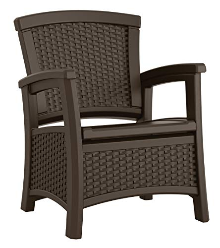 Suncast BMCC1800 EMW8862948 Elements Club Chair with Storage-Lightweight, Resin, All-Wea, Java