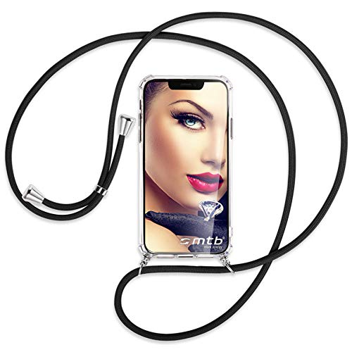 mtb more energy® Handykette kompatibel mit HTC U12 Plus, U12+ (6.0'') - schwarz - Smartphone Hülle zum Umhängen - Anti Shock Full TPU Hülle