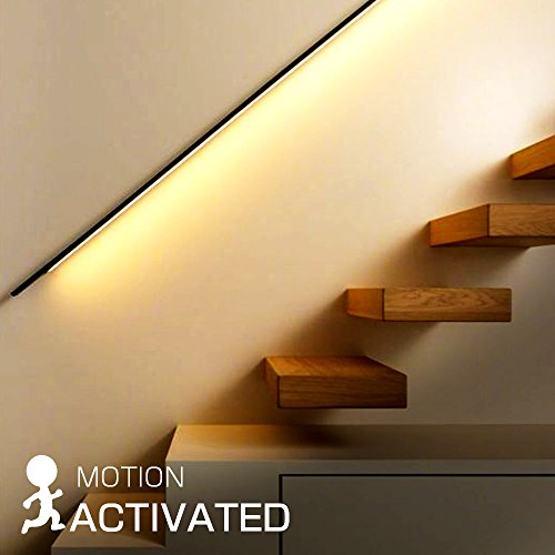 Haian LED Closet Light Battery Powered Rechargeable,Motion Sensor Night Light Strip Stick Anywhere for Closet,Doorway,Stairway,Hallway,Under Counter,39inch 2.4W,2700K Warm White