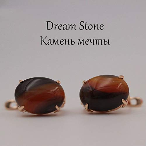 CHQSMZ Earring New Ru Multicolor Oval Natural Stone Big Earrings 585 Rose Gold Opal Earrings Women India Onyx Party Wedding Jewelry Dream Stone