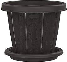 "Cosmoplast Plastic Cedargrain Round Flowerpot 6"" with Tray"